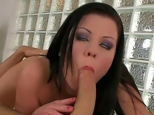 Busty brunette named Claudia Hot gets a big cock in her sweet and nice mouth