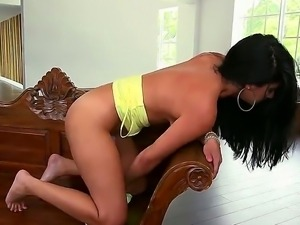 Astonishing brunette bombshell Sasha Meow with beautiful natural boobs plays...