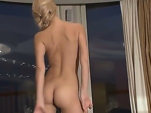 Skinny Sasha get pleased by slowly rubbing her soft cunt in amazing solo session