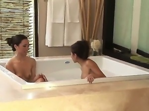 Two gorgeous and attractive Asian brunette pornstars Jackie Lin and Miko Sinz...