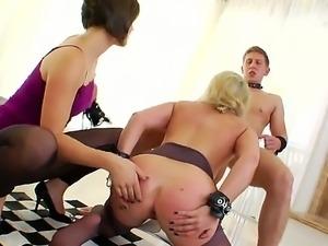 Filthy brunette bitch Bobbi Starr makes hot blonde babe Dia Zerva with...
