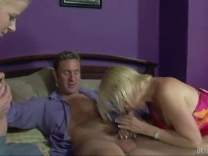 Busty and hot blonde Anita Blue and her friend enjoy