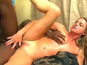 Hot interracial blowjob scene with seductive pornstar Amanda Blow, policeman...