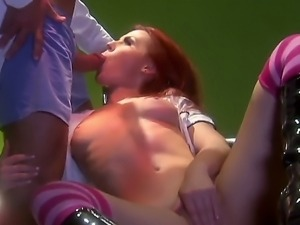 Redhead Alexandra gets a hard fucking in her tight holes from horny hunk with...
