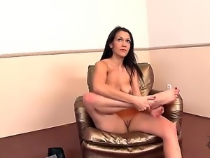 Brunette with superb body and big tits Samia Duarte enjoys feeling and...