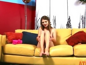 Hot amateur skinny babe Alice March is posing totally naked on camera for her...