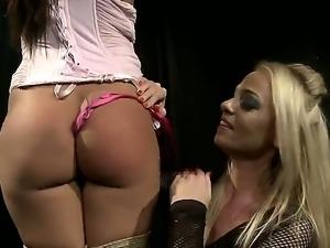 Horny mistress Dorina Gold is disciplining pretty slave Cipriana with...