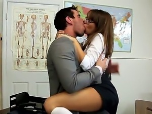 Horny teacher petted and kissed his hot schoolgirl and then licked her pussy...