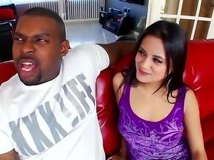 Brunette teen Selma Sins enjoys huge black monster dick pounding her tight pussy