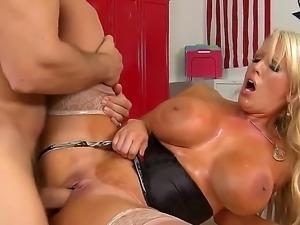 Voluptous blonde Alura Jenson teases and hard rides Ramonss massive cock