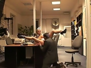 Sexy flight attendant Jenny gets fucked tough and takes big hard cock in...