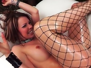 Courtney Cummzs lusty butt hole is all oiled up as Mick Blue rams her wildly...