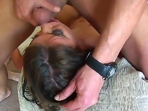 Wild slut gets nailed and made to swallow from three guys in nasty hardcore...