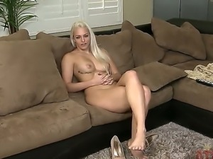 Beautiful blonde babe Macy Cartel gets naked during this hot interview and...