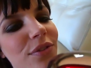 Sensual brunette Bobbi Starr enjoys in playing with her dildo for Toni Ribas...