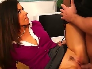 Brunette India Summer enjoys fucking at the office with stud Johnny Castle
