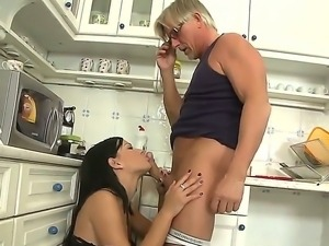 Abbie Cat caught by her adult neighbor and fucked sweet at the kitchen