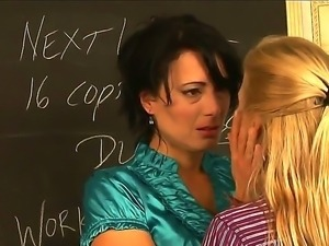 Two MILF brunette and blonde teachers kiss sweet and undress in the classroom...
