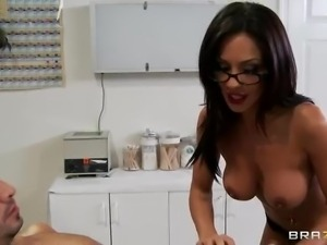 Raven haired glassed doctor Kirsten Price with perfect big firm