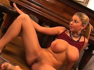 Busty and crazy babe named Snow spreads her legs and masturbates with her...