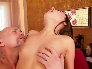 This rich old man seduces very cute young babe to have intergenerationa sex...