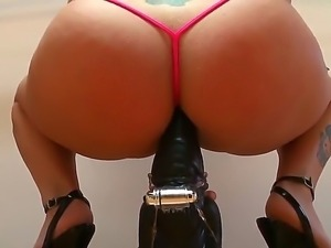 Busty blonde Angel Vain gets her ass licked before impaling it on a big, fat...