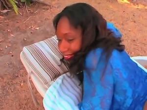 Sexy ebony Anjel Devine likes sucking it deep and having it in her juicy twat