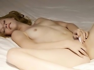 Beauty with petite nipples teasing pussy