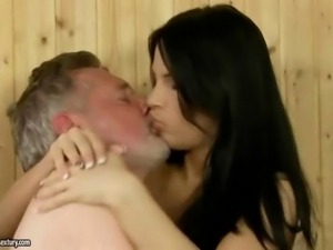 Amabella enjoying sex with old guy