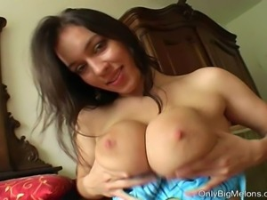 Horny Stella Fox playing with her giant lactating tits then uses a pump on...