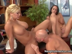Cock hungry bombshells Carmella Bing and Shyla Stylez with enormous fake...