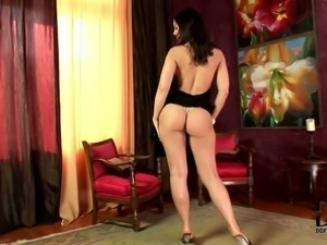 Fascinating Eve Angel is here again. She wears sexy black