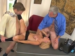 Curvy blonde babe enjoys her tight cunt banged as she blows a pole in a...