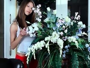 Delicate Anjelica rubs pussy with undies