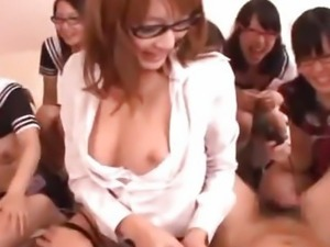 Cute Teens In Glasses Gangbang