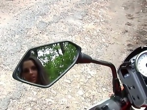 Eve Angel loves getting on a bike and showing her hot body to the whole world...
