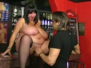 Chunky barmaid rides guy's cock