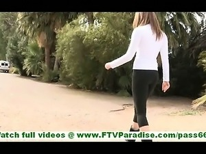 Adrianna naughty little brunette flashing tits and ass and flashing and...