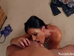 Lovely milf brunette India Summer gets down on her knees in front of her...