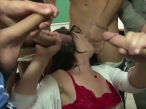 Hot professor gang banged by her students