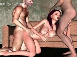 3d anime hottie mouth and cunt fucked in threesome