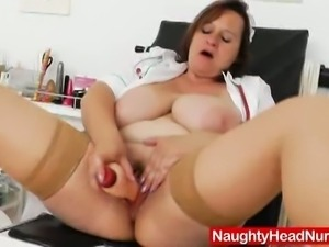Horny mature nurse masturbating