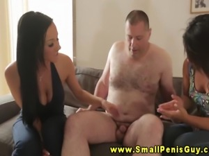 Dude with small cock facing dominas