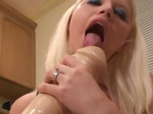 Jayda enjoys a massive dildo