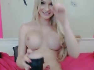Cute Busty Blonde Tranny Playing her Cock