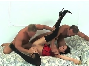 Pretty handsome chick Mandy Bright got her mouth stuffed with huge cock while...