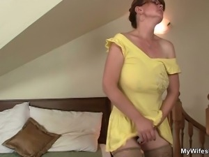Mature lady toy fucking and shag from behind
