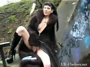 Tattooed alternative punks public flashing and outdoor exhibitionism of...