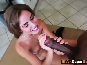 Interracial hardcore sex for skinny slut