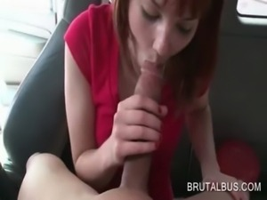 Redhead sweetie working on her BJ skills in the sex bus free